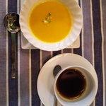 花庵 - セットのスープとコーヒー