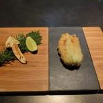 TAKAZAWA - 花ズッキーニと松茸の天ぷら