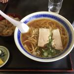 ふくし食堂 - ラーメン定食(しょうゆ、焼肉丼)