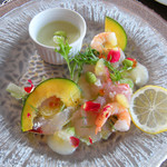 Hotel Sea Shell - 枝豆のムース、金目鯛と飛魚のマリネ