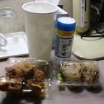 島原まぜ飯 - 塩唐揚げ5個(1個50円)とまぜめし(250円)