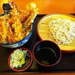 天丼てんや - 穴子・めごち・海老の夏天丼+小そばセット