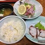 多津味 - 磯定食¥1620(あじのたたき  地タコ サザエ壷焼き)