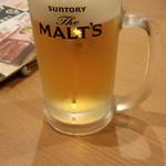 うなぎ御食事処煙 - 生ビール(400円)(税抜)