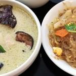 ジェイズカフェ - 大使館セット(鶏肉と竹の子のグリーンカレー・春雨炒め)のアップ
