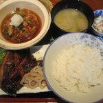 えんざ - えんざの定食「カレイ煮付け、桜海老かき揚げ」