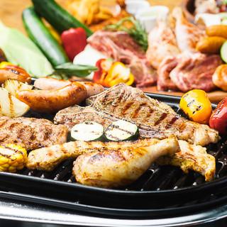 BBQはお肉はこだわりの6種類。味付けにもこだわり