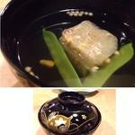 梨庵 - ◆玉蜀黍真丈のお椀・・真丈は葛で固めたような印象で、食感がいいですね。 丁寧に引かれたお出汁で頂く汁もいい味わい。