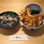 天丼まきの - 当店一押し 天丼ロ ¥1190   あさり汁¥390