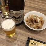 開楽 - ビールとメンマ