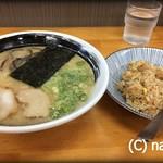 麺匠 いち武 - とんこつラーメン+焼飯セット(600円+200円)