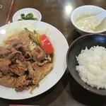 中国料理 蘭州 - 生姜焼き定食1,100円、ご飯少なめ