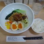 麺屋 蜀伝 - 蜀伝汁無担々麺(3辛)+味玉+一口ライス