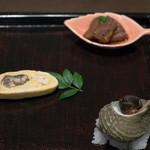 藤吉 - 2017.7 先附(南房総産天然鰻有馬煮、天然鰻う巻き、さざえ)