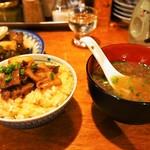 煮こみ - 牛煮こみオンザTKG & 牛スープ