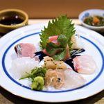 茂松 - メジマグロ、鯵、アオリイカ、平貝の炙り、真鯛、コチ