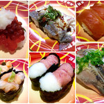 元禄寿司 - 左上から「すじこ」「海鮮丼風軍艦」「鯛皮湯引き」「山かけマグロ」「漬けマグロ」「イワシ」。