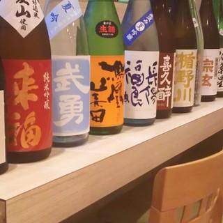 こだわりの日本酒。来福、武勇、鳳凰美田、菊姫、天狗舞、農口