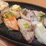 ときすし - 名物‼すし焼きはイカ、トロ、サーモン、キス、海老、ホタテ、活蛸、しめ鯖
