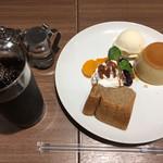 心斎橋ミツヤ - カスタードプリン&シフォンケーキ ドリンク付 810円 (冷コー)