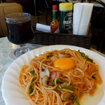 ロマン - スパゲッティーロマン(大盛り)&アイスコーヒー1010円(大盛りプラス110円)