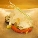 平和寿司 - 鮑と雲丹の酢の物