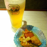 青魚と和牛のうまい店 太郎 - ◆生ビール、お通し