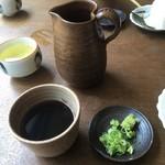 本格手打そば 藤村 - 薬味と出汁