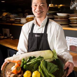 旬のお野菜は九州産の無農薬野菜を厳選し使用しております。