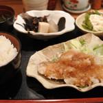 吟酒海楽 和 - カレイの唐揚げおろしポン酢定食