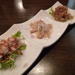 Suirouhonkan - 前菜 クラゲ 棒々鶏 牛モツのネギ和え