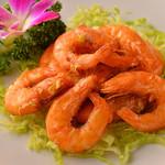 茘香尊 - 有頭海老の塩胡椒炒め