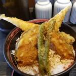 天ぷら かき揚げ 新次郎 - アナゴ天丼 大盛