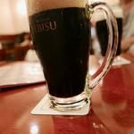 ビヤレストラン 銀座ライオン - エビス黒の泡はうっすら茶色