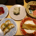 71028573 - らす、白焼うなぎ、大煮穴子、鯨赤身、鰻肝串