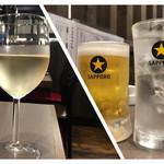 焼肉ホルモン せがれ - グラスワイン白、生ビール、黒霧島水割