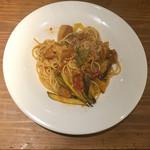 炭焼きバル Banquet - ガリシア栗豚と夏野菜のトマトスパゲティ
