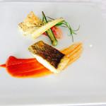 71054583 - 本日の鮮魚のブレゼ(スズキ) 夏野菜の焼きリゾット 完熟トマトと野菜のピュレ