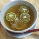 くろ松 - 特級白醤油つけ麺 つけ汁