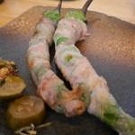 旬菜 すがや - 万願寺とうがらしと豚肉巻き330円。