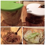 博多天ぷら たかお - 「お漬物」と「昆布明太子」は食べ放題。