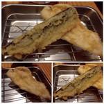 博多天ぷら たかお - *鰯・・鰯はどんな調理でも美味しいですが、天ぷらもイケマス。 *ささみ・・柔らかいささ身で、大きいですね。