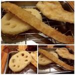 博多天ぷら たかお - ◆「ごぼう」と「蓮根」 ゴボウは薄くスライスしてありますが、食べやすくていいですね。 蓮根も柔らかく食べやすい。