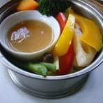 71090996 - 蒸野菜(柚子味噌ソース)