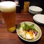 せきとり - お通しと「生ビール」500円