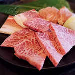 71105269 - ミスジ(宮崎牛)、豚バラ、鶏もも [ミスジ定食(宮崎牛)]