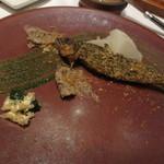 71113419 - 鮎の2時間コンフィ 鮎の肝と山梨県・芦安の山椒の香り