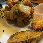 すし茶屋 わび如 - 料理写真:ランチ一皿目(かき揚げ・さつまいもの天ぷら、など)