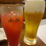 すし辰 - ドリンク写真:ブラッドオレンジ(250円) スーパードライ・中(500円)