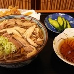 そば処吉亭 - 肉そば(冷)+げそ天単品皿